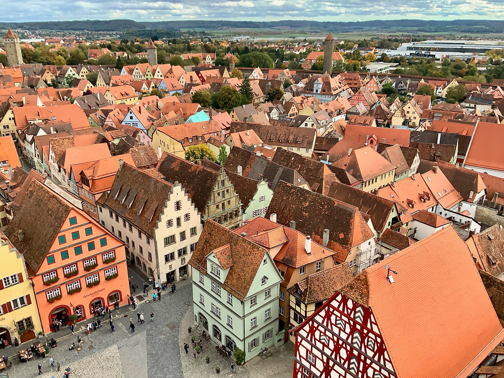 Rothenburg ob der Tauber, view from the Rathaus which is a steep and perilous climb