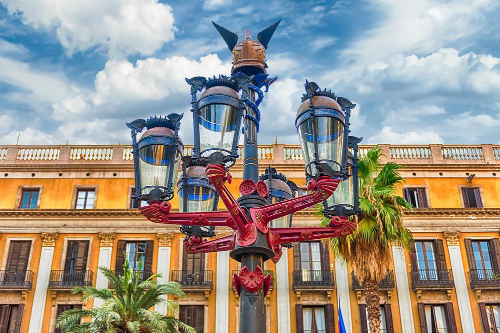 Gaudi-designed lampposts in the Placa Reial of the Gothic Quarter