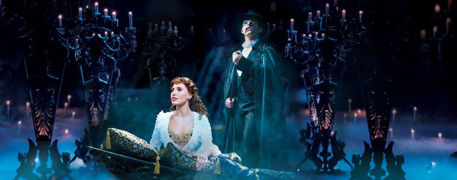 A key moment in the Phantom of the Opera musical, when Erik kidnaps Christine and takes her to his watery underground lair. Image source: Her Majesty's Theater