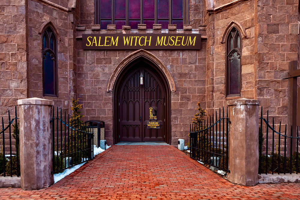 the Salem Witch Museum, housed in an old Gothic style church