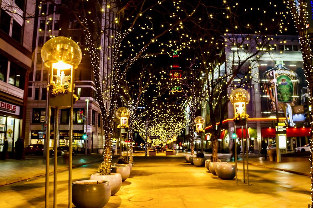 16th Street Mall lit up at night