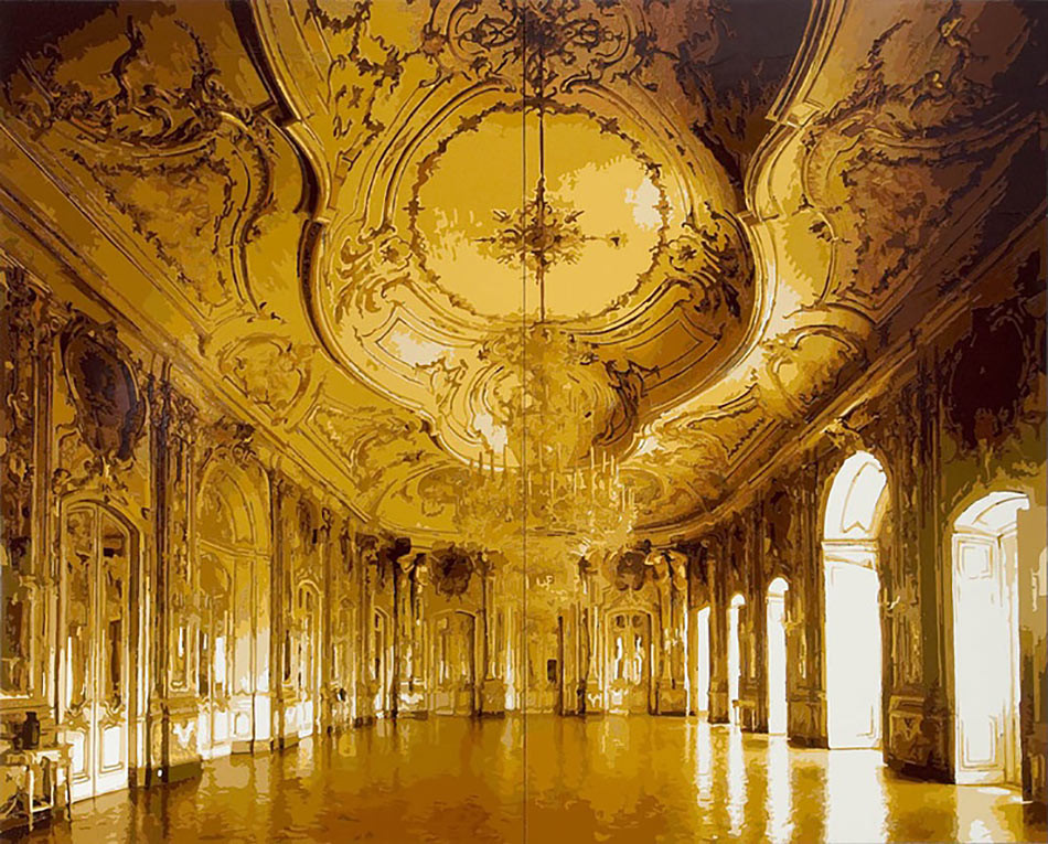 Dorian FitzGerald, The Throne Room, Queluz National Palace, Sintra, Portugal, 2009 -- a digitally generated copy of palace outside Lisbon