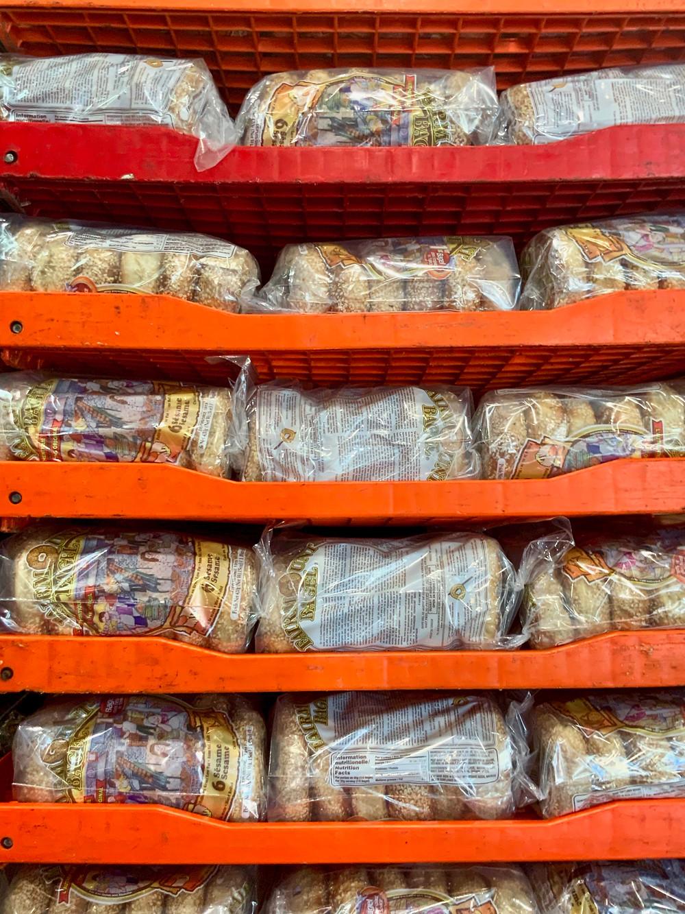 stacks of bagels for sale at Fairmont Bagel