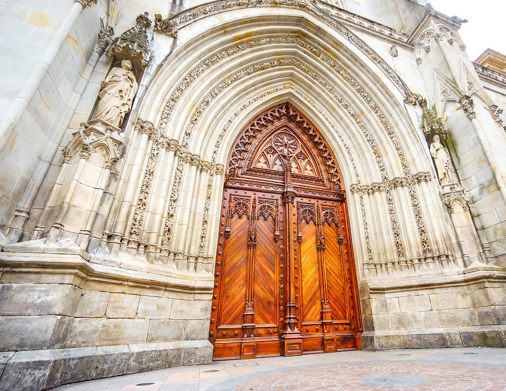 ornate door of Santiago Cathedral