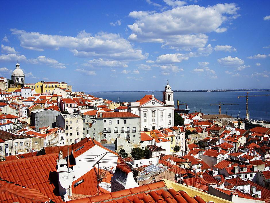 view of the Alfama neighborhood of Lisbon