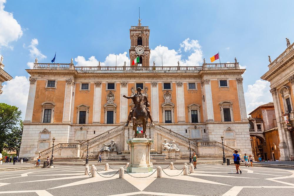 Piazza del Campidoglio on Capitoline Hill in Rome with the equestrian statue of Marcus Aurelius and the facade of Palazzo Senatorio