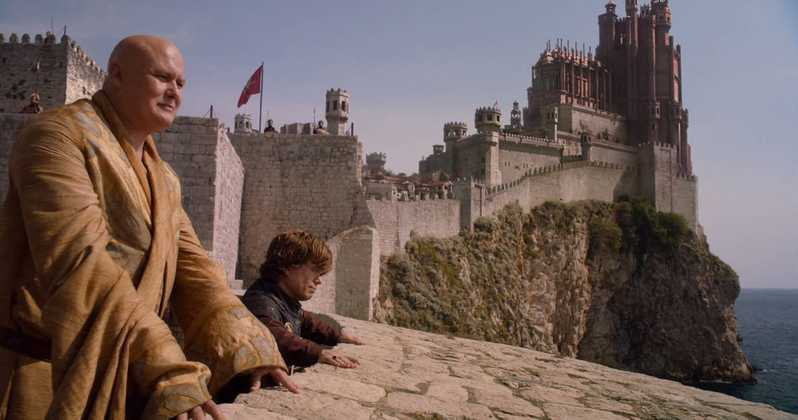 Lord Varys and Tyrion Lannister on the city walls. Image source: HBO