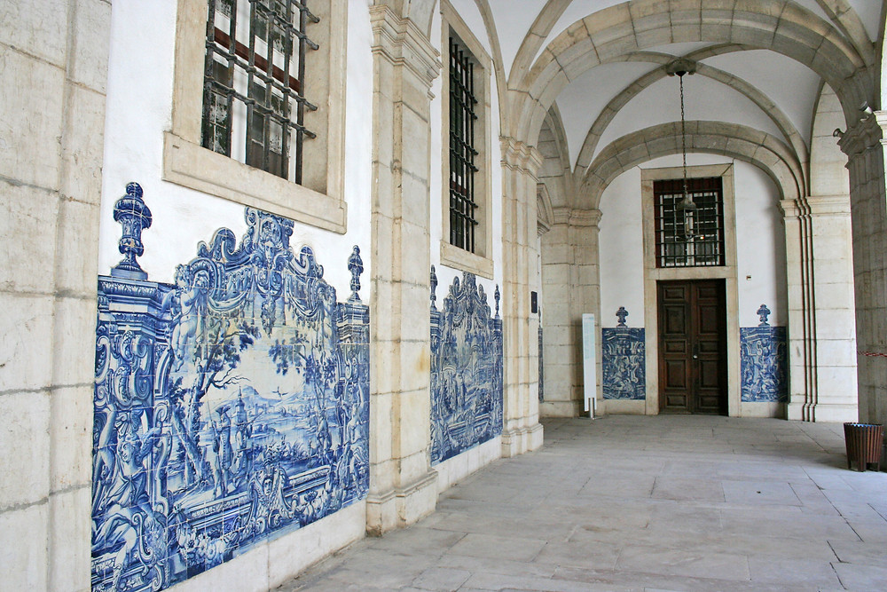 azulejo tiled walls in the Monastery of Sao Vicente de Fora