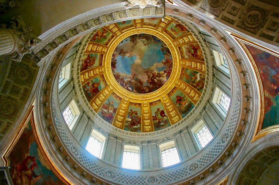 the dome of Les Invalides with a painting by Charles de la Fosse from 1692