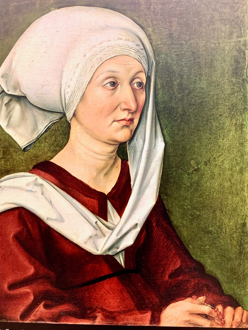 a replica of Albrecht Durer's portrait of his mother -- the real deal was traveling