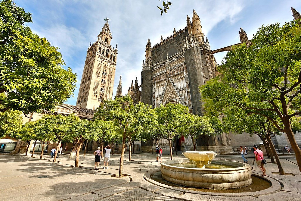 La Giralda Bell Tower on the left of Seville Cathedral