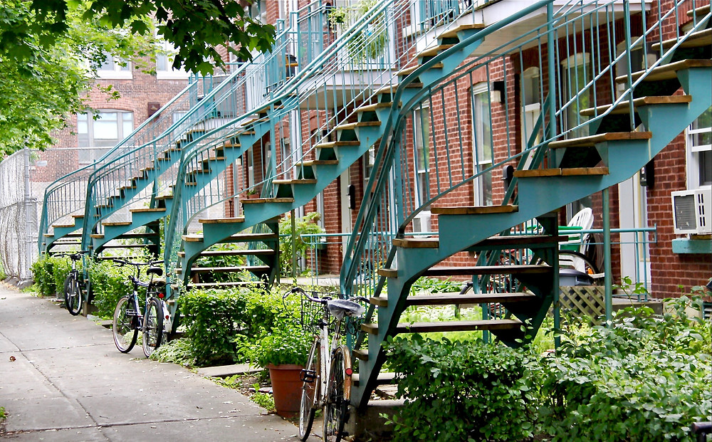 twisty Montreal-style staircases in Little Italy