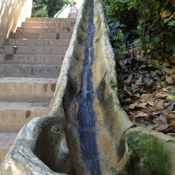 the luge in the the water stairway in the Generalife Gardens