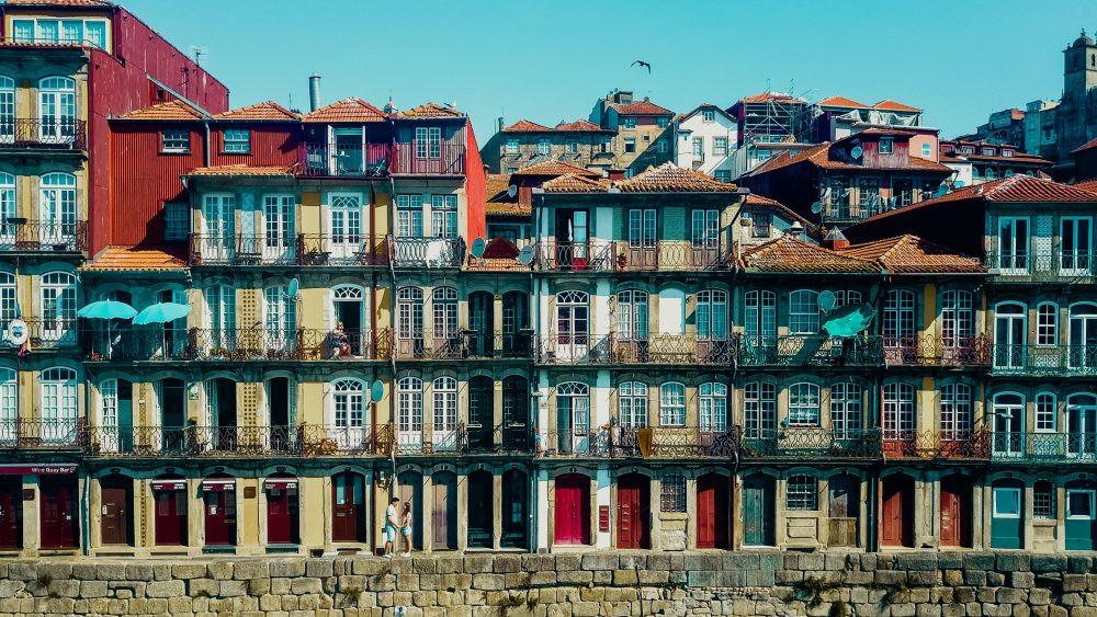 the colorful Cais de Ribera in Porto
