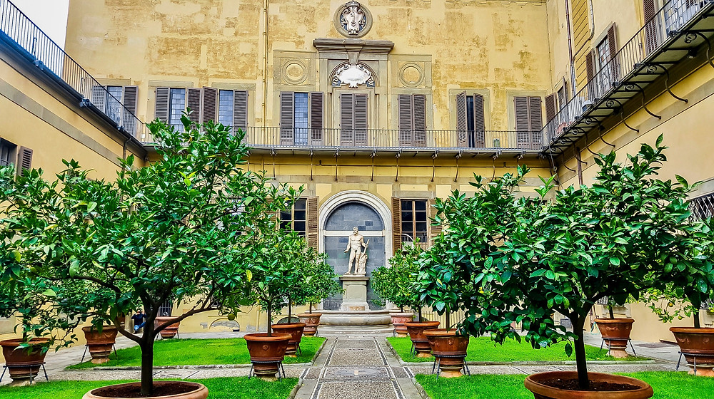 walled garden in the Medici-Riccardi Palace