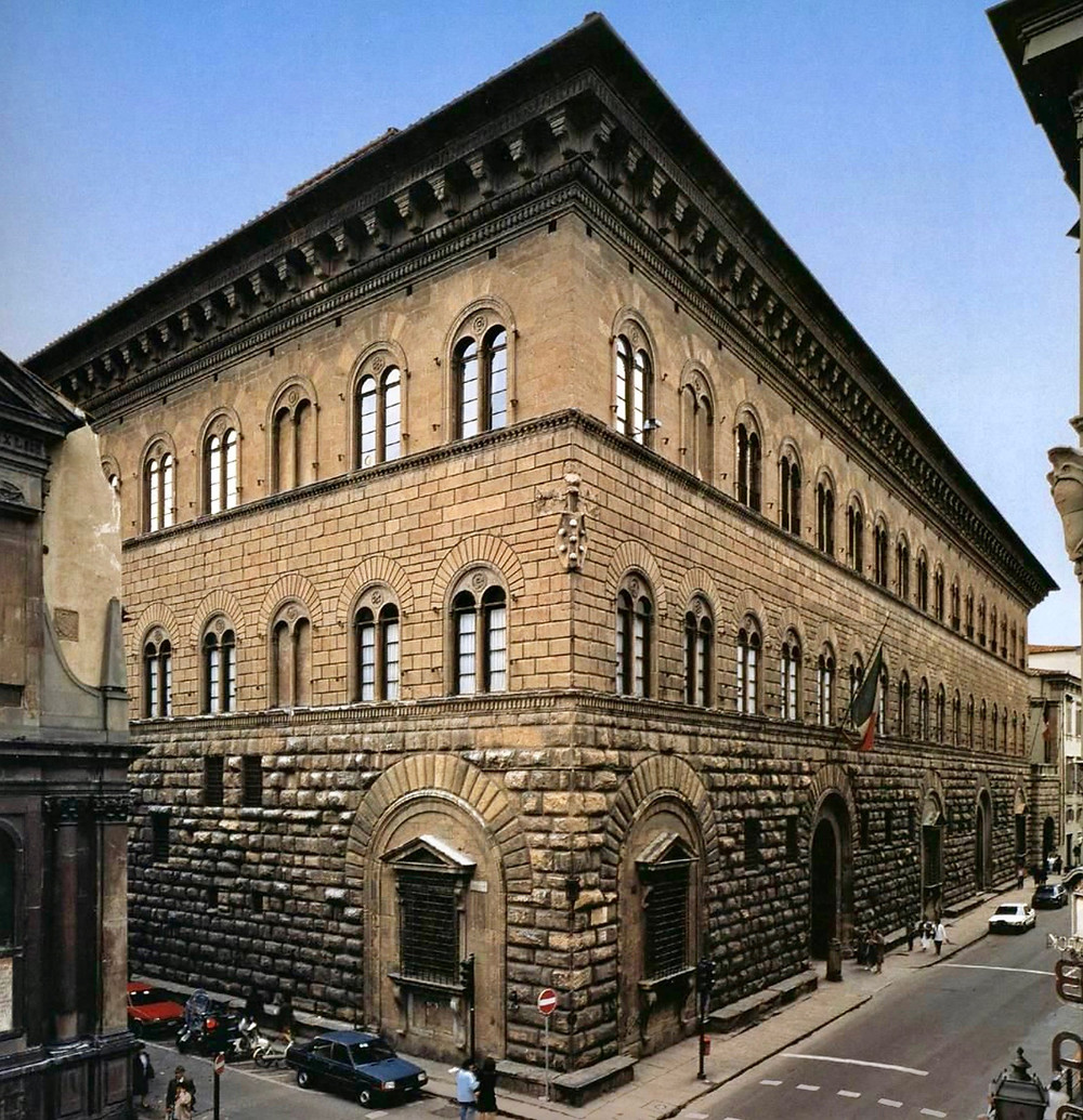 the three stories, from rustic to refined, of the Medici-Riccardi Palace