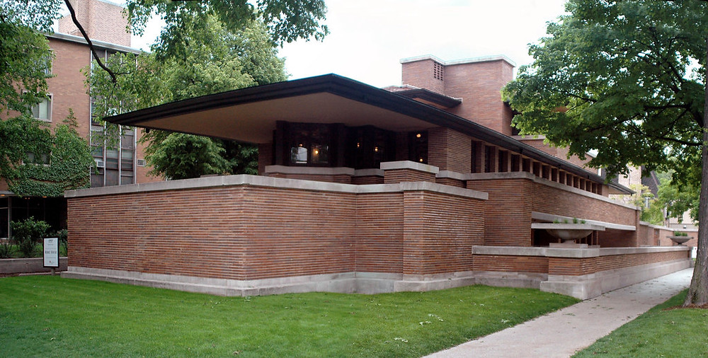 Completed in 1910, the Robie House is the consummate expression of Wright's Prairie style. It's also on the UNESCO list.