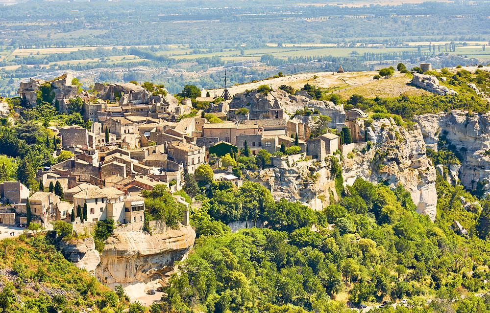 the ruins of a medieval castle-fortress in Les Baux de Provence