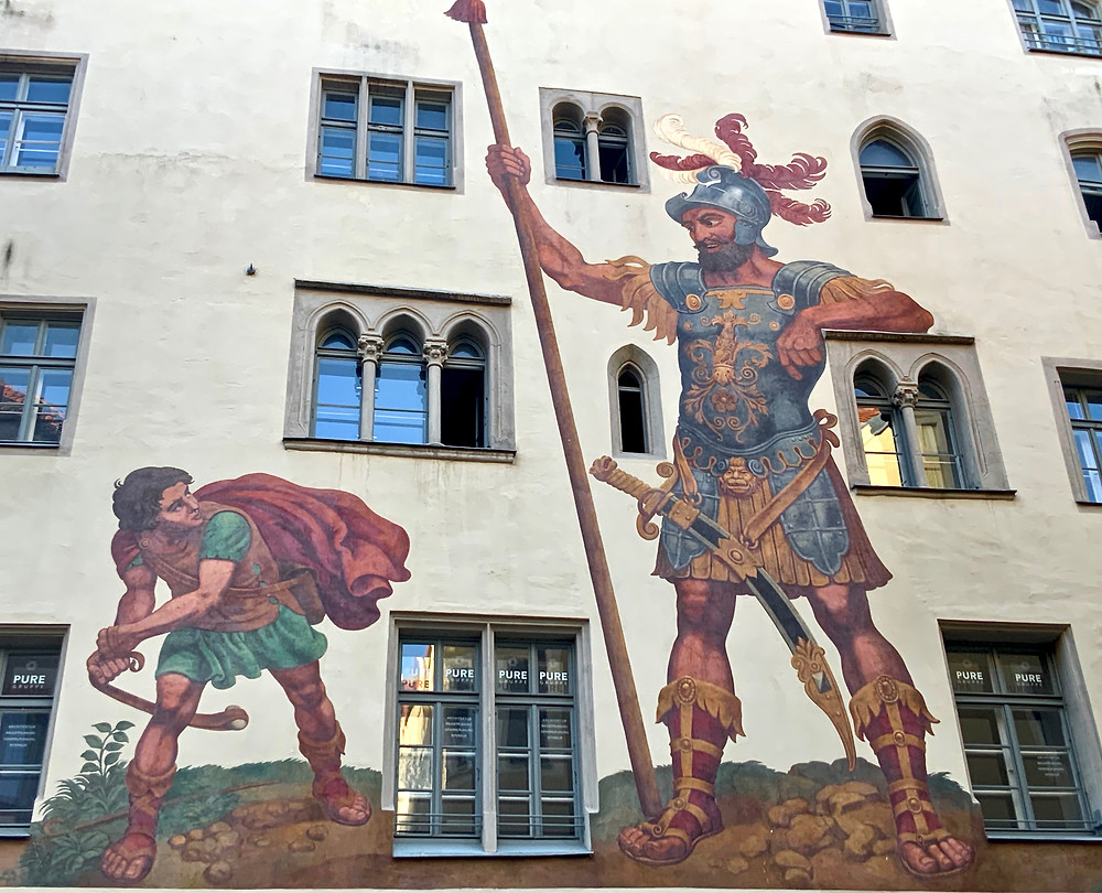 the David and Goliath mural on Goliathstrasse