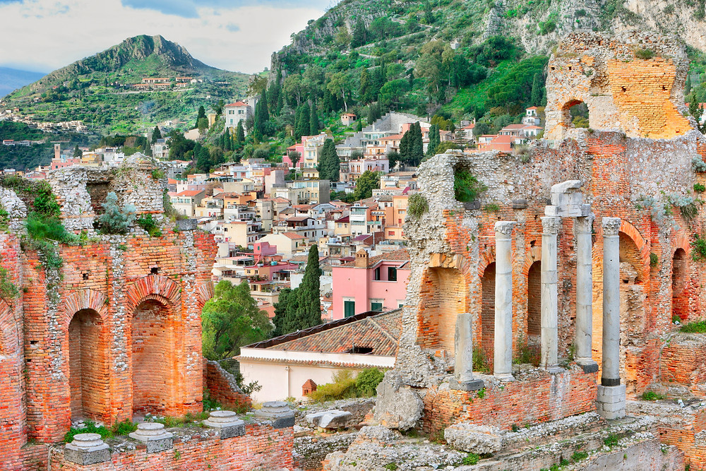ruins of the Greek Theater in Taormina Sicily
