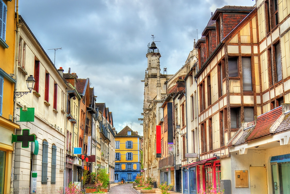 the beautiful town of Troyes in France's Champagne region