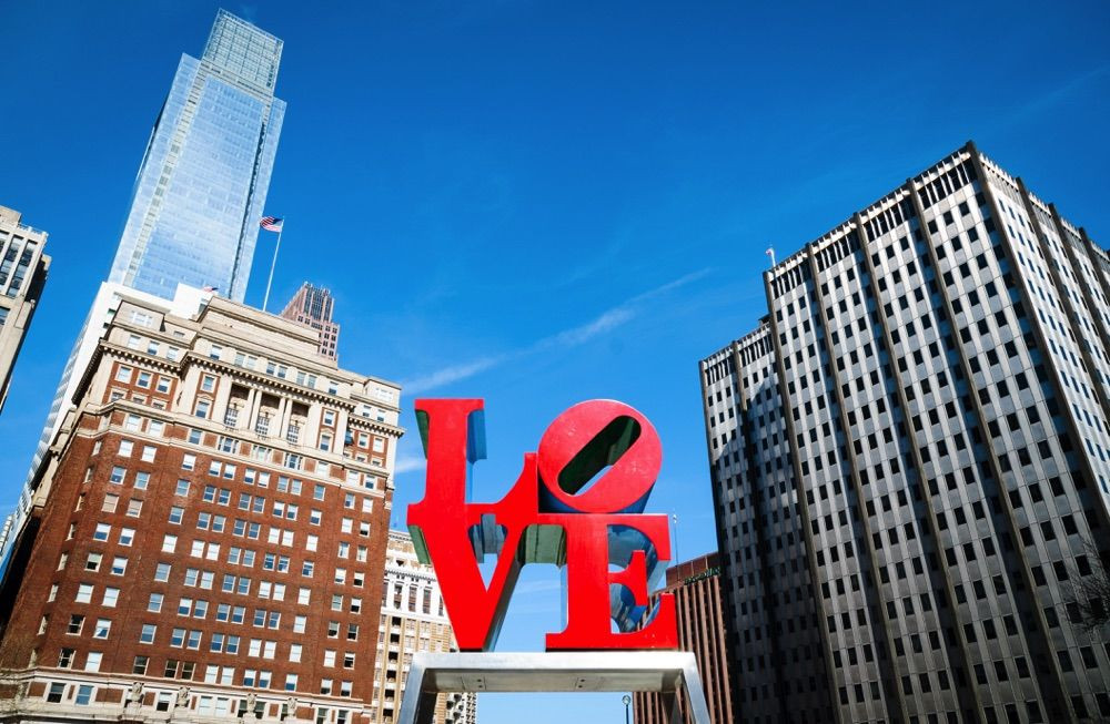 Robert Indiana's Love sculpture in Love Park in downtown Philly