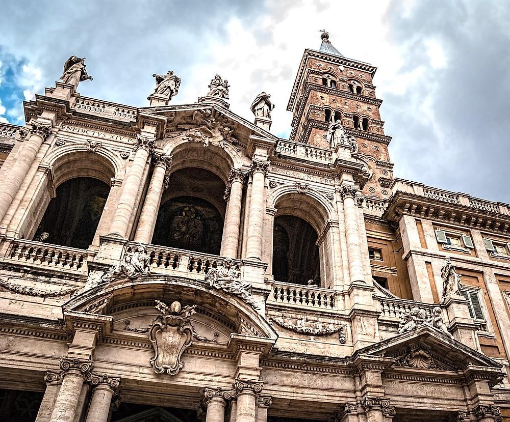 the loggia on the facade