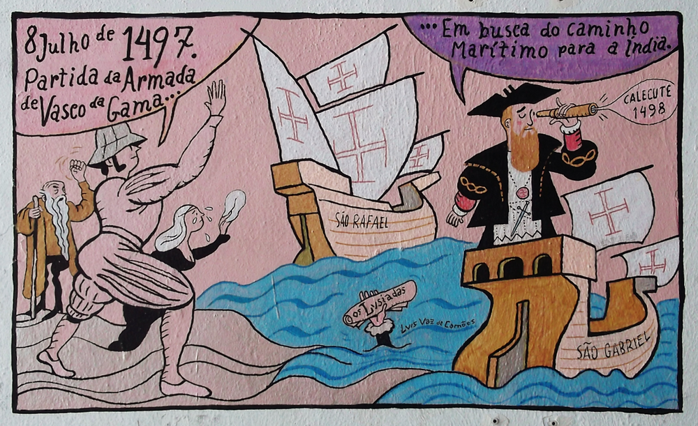 "detail from ""History of Lisbon"" cartoon mural"