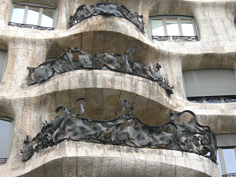 close up look at wrought iron balconies on La Pedrera