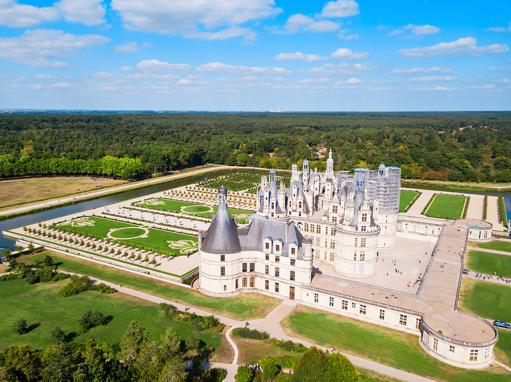 aerial view of the layout of Chateau Chambord
