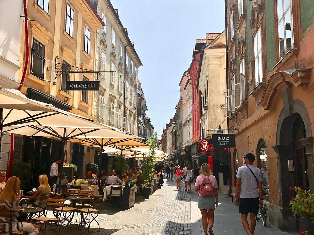 the main drag in Ljubljana