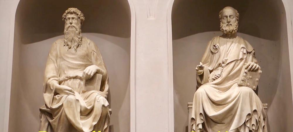 detail of Donatello's sculpture of St. John (left)