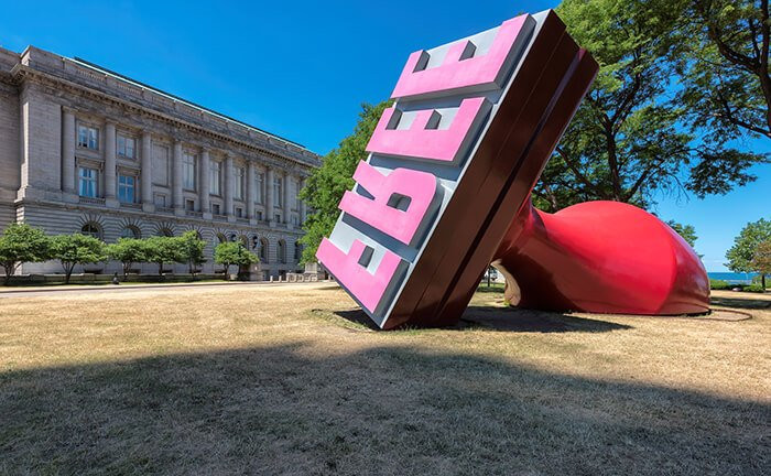 the giant Free Stamp sculpture