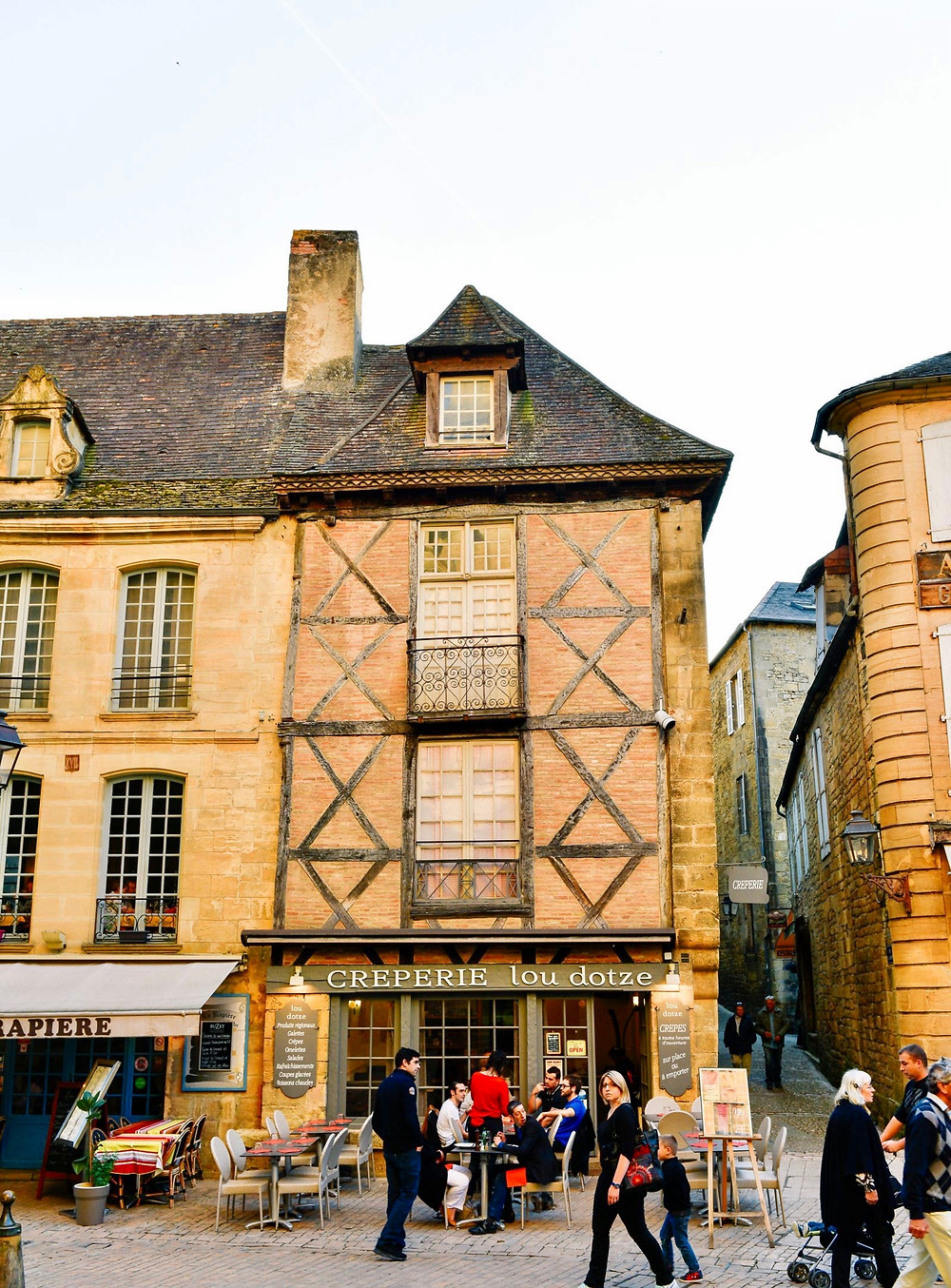 cobbled streets and half timbered homes in Sarlat France