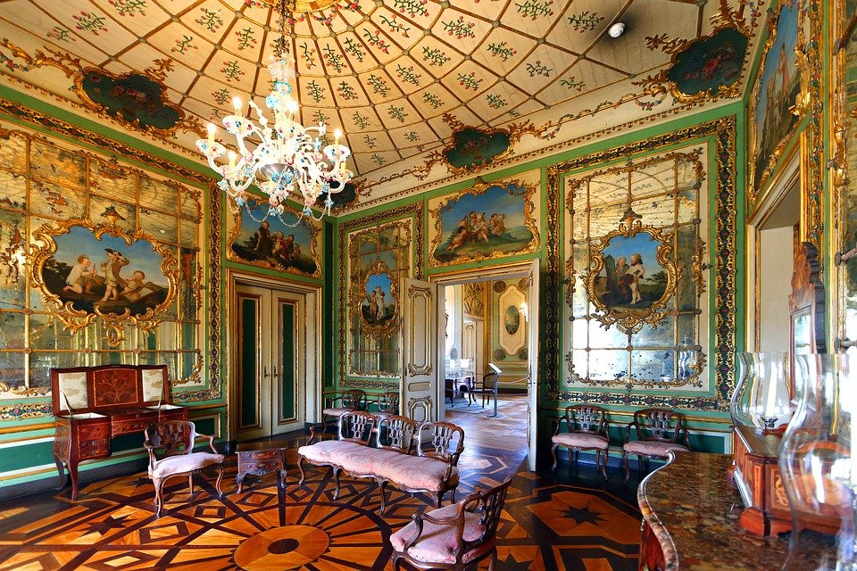 interior of Queluz Palace in Portugal