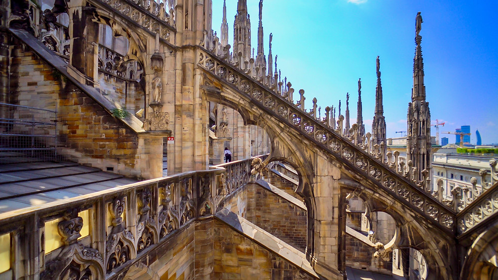 architectural details of the Duomo in Milan Italy