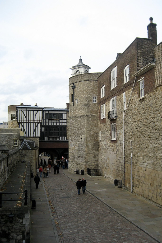 Water Lane and the Bell Tower, which is the oldest tower in the Tower of London