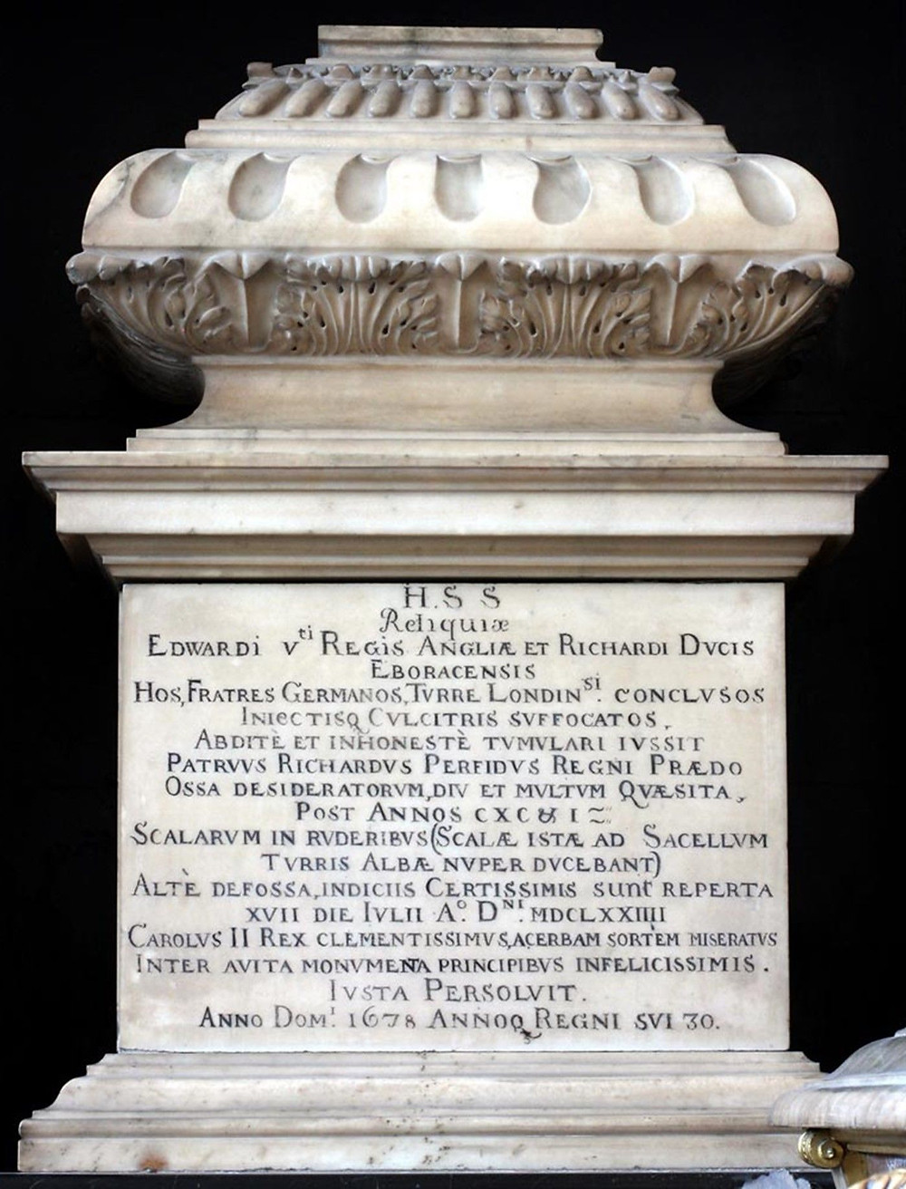 """The white marble urn, which contains the reputed remains of the """"Princes in the Tower,"""" Edward V and his younger brother Richard, Duke of York"""