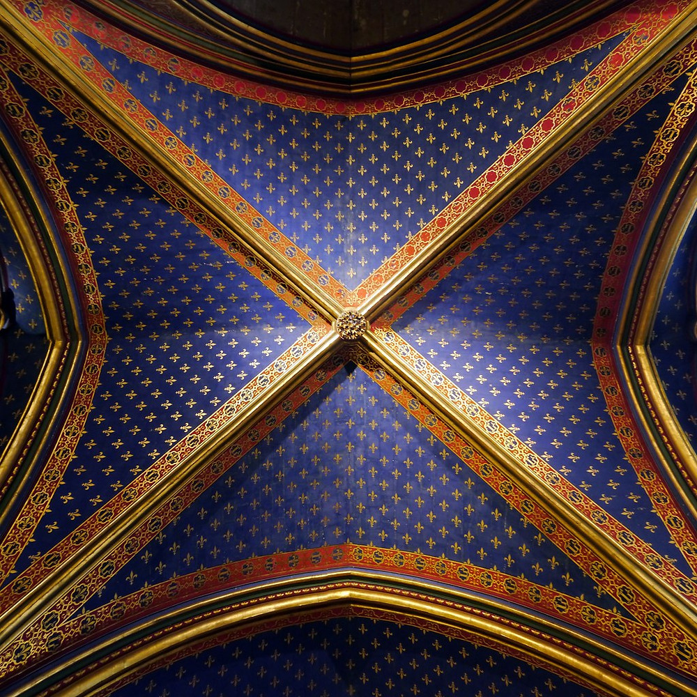 azure ceilings of Saint-Chapelle studded with golden flour-des-lis