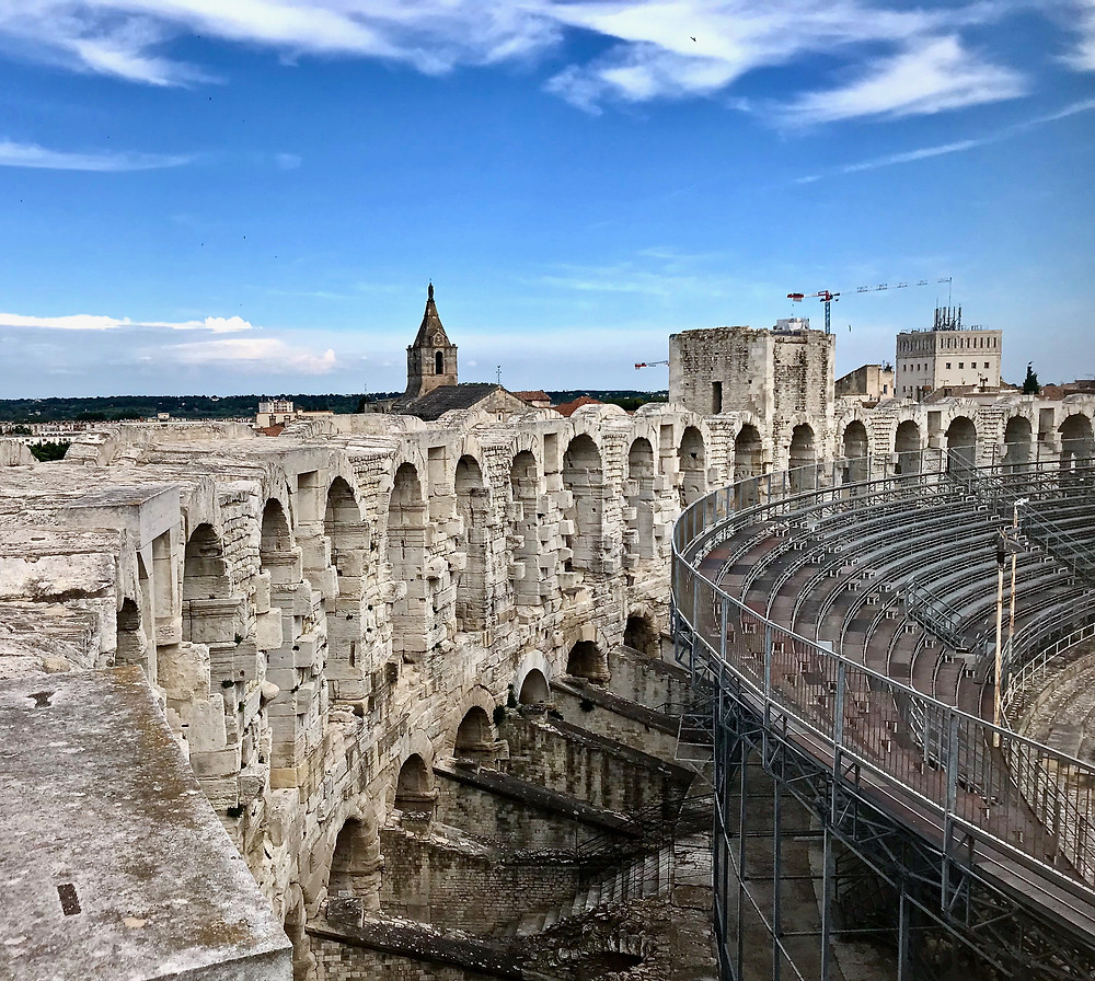 the 1st Century Roman Amphitheater in Arles France built during the reign of Augustus