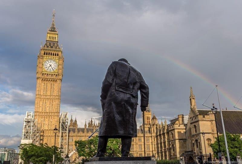 Churchill statue in Parliament Square in London