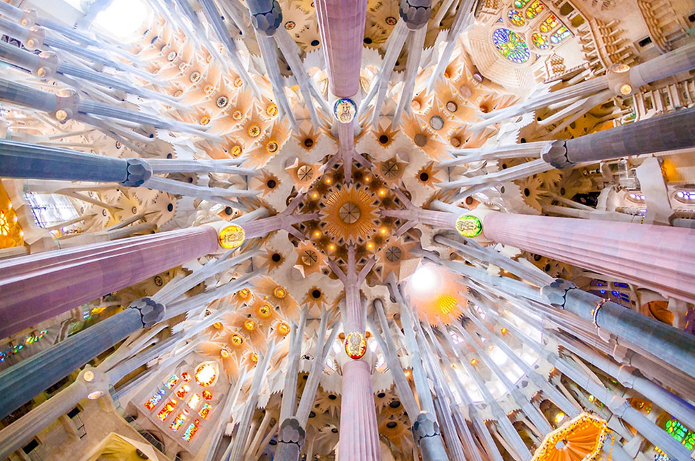 the beautiful forest-like nave of Sagrada Família in Barcelona