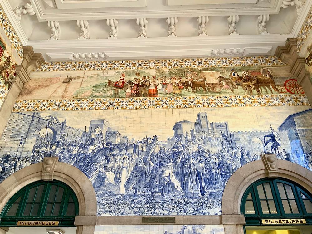 azulejo murals in the São Bento Train Station in Porto