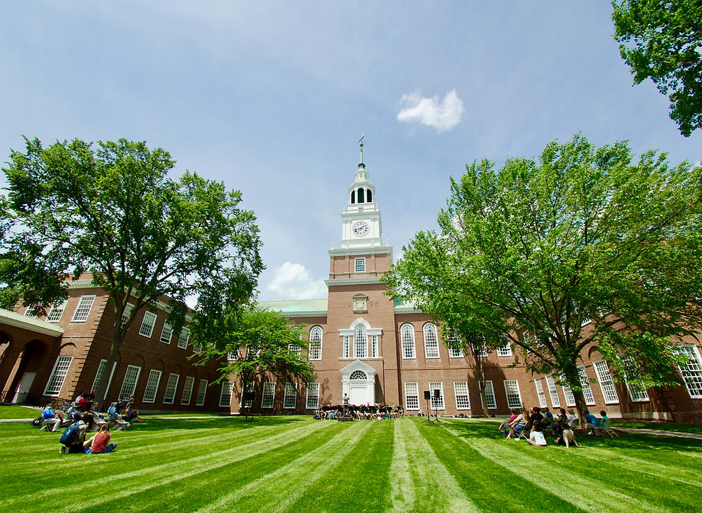 the college green and Baker Library at Dartmouth College