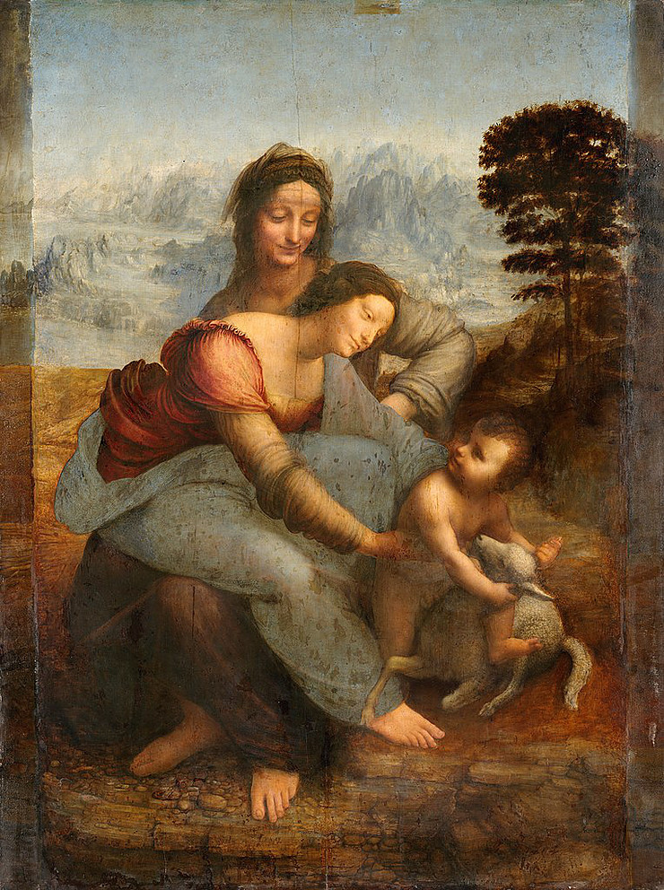 The Virgin and Child with St. Anne by Leonardo de Vinci at the Louvre -- in the very same room as the Mona Lisa