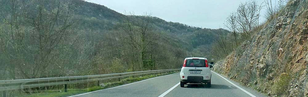 a paved road on the drive to Plitvice Park in Croatia