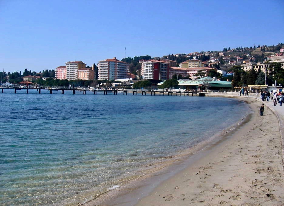Portorož Beach on Slovenia's Adriatic Coast