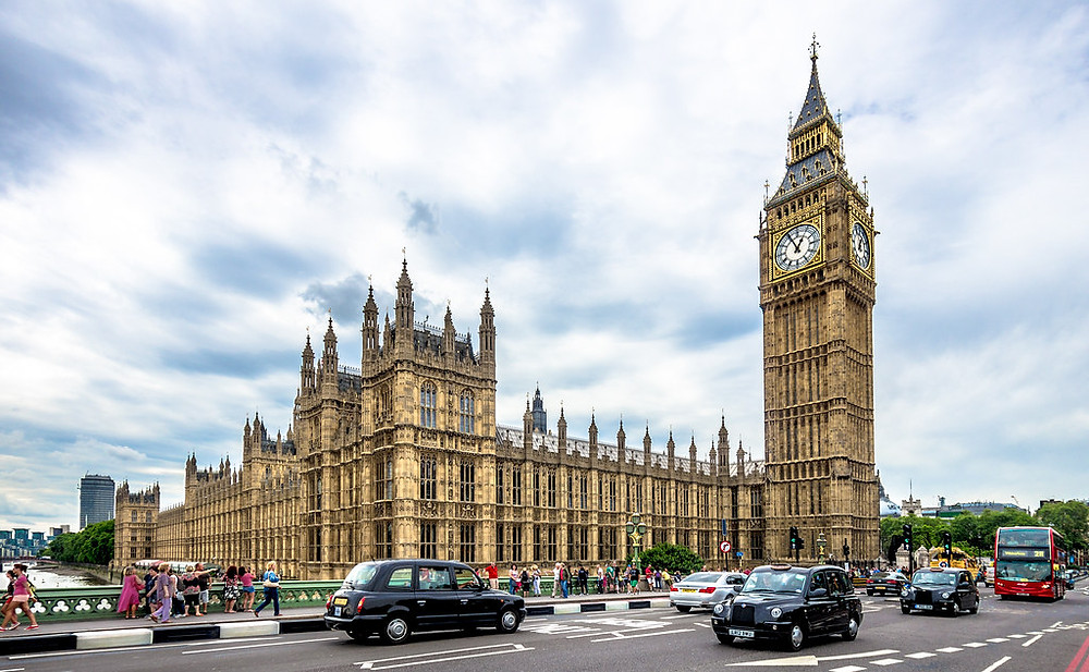 the iconic Houses of Parliament in London, with Big ben on the right