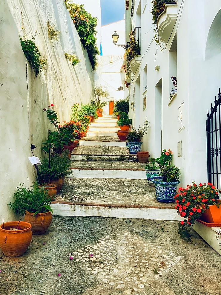 pretty pottery lined stone staircase in Frigiliana Spain