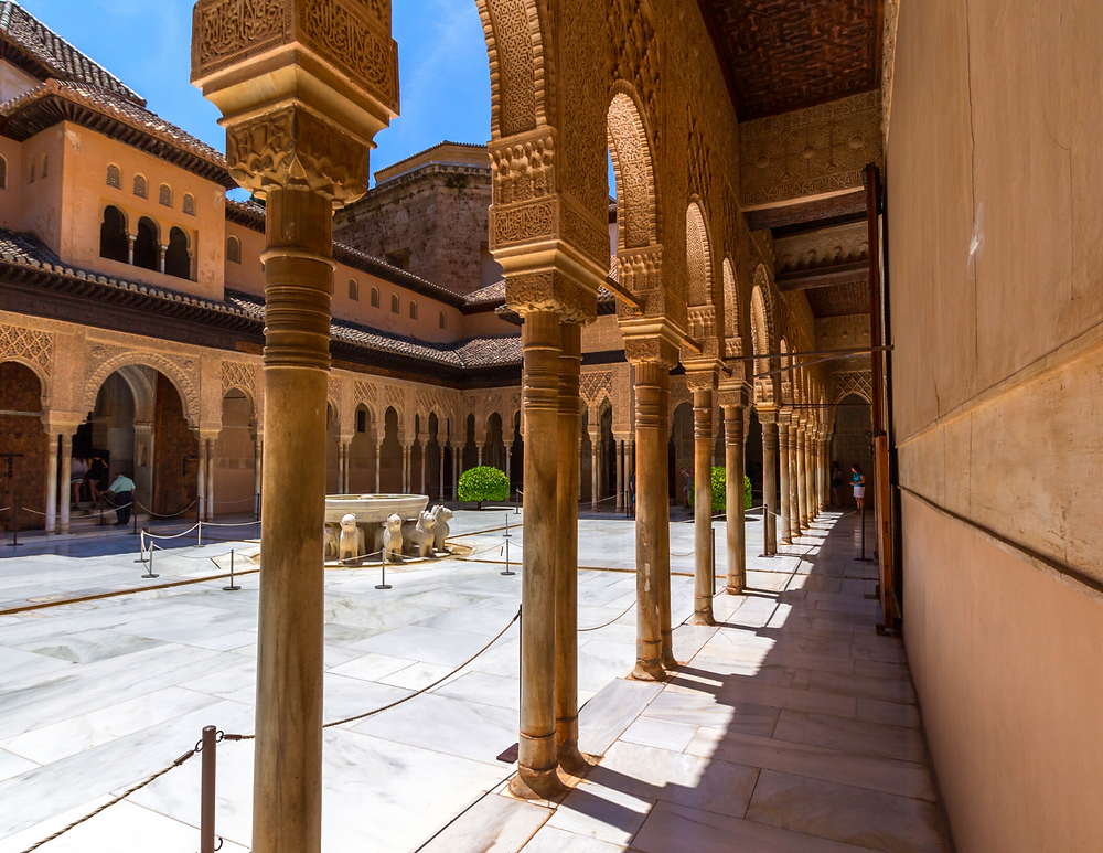 Courtyard of the Lions in the Nasrid Palace, a highlight of the Alhambra